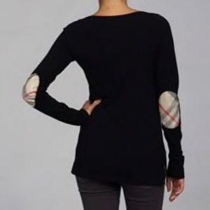 Burberry Patchwork Sleeve Long Sleeve Black Tee SM
